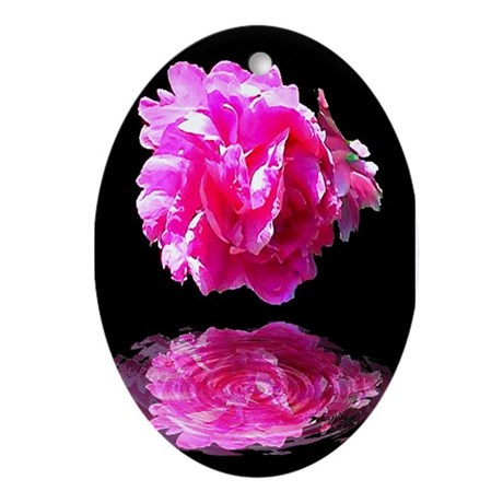 Peony Reflections Oval Ornament