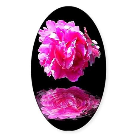 Peony Reflections Oval Sticker