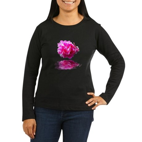 Peony Reflections Women's Long Sleeve Dark T-Shirt