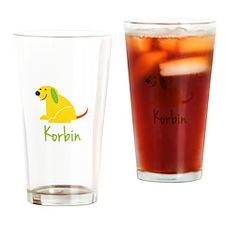 Korbin Loves Puppies Drinking Glass
