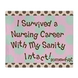 i survived nursing pink green brown Throw Blanket