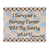 i survived nursing brown blue polka dots Throw Bla