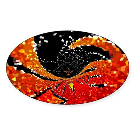 Crystal Web Oval Sticker