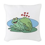 frogs in love copy.jpg Woven Throw Pillow