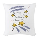 stars n stripes 4 ever copy.jpg Woven Throw Pillow