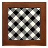 Black and White Gingham 2 Framed Tile