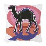 colorful camel design.png Woven Throw Pillow