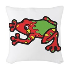 red tree frog.jpg Woven Throw Pillow
