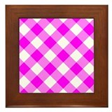 Magenta and White Gingham Framed Tile
