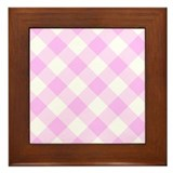 Pale Pink and White Gingham Framed Tile