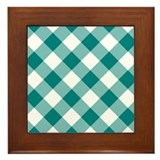 Teal and White Gingham Framed Tile