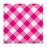 Bright Pink and White Gingham Tile Coaster