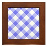 Slate Blue and White Gingham Framed Tile