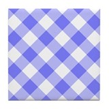 Slate Blue and White Gingham Tile Coaster