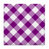 Purple and White Gingham Tile Coaster