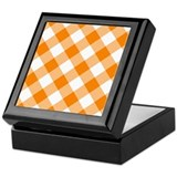 Orange and White Gingham Keepsake Box