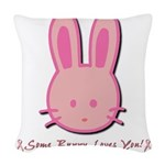 breast cancer bunny.psd Woven Throw Pillow
