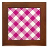 Medium Violet Red and White Gingham Framed Tile
