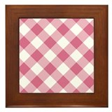 Pale Violet Red and White Gingham Framed Tile