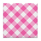 Hot Pink and White Gingham Tile Coaster