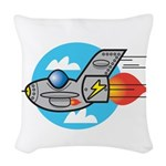 retro aeroplane jet.png Woven Throw Pillow