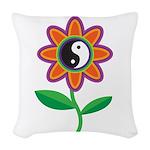 yinyangflower.jpg Woven Throw Pillow