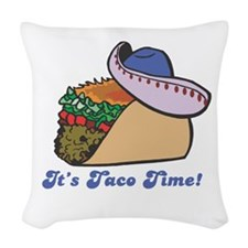 taco with hat copy.jpg Woven Throw Pillow