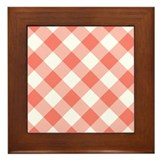 Salmon Gingham Framed Tile