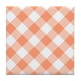 Light Salmon Gingham Tile Coaster