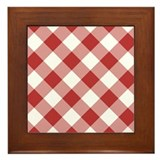 Fire Brick Gingham Framed Tile