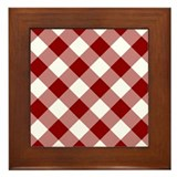 Dark Red Gingham Framed Tile