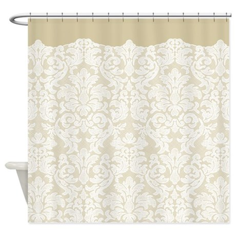 lace pattern white tan shower curtain by marshenterprises