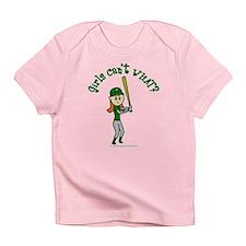 Girl Baseball Player in Green Infant T-Shirt
