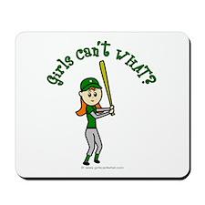 Girl Baseball Player in Green Mousepad
