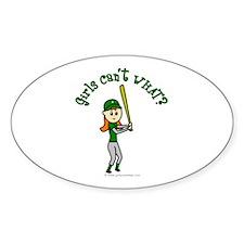 Girl Baseball Player in Green Decal