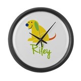 Riley Loves Puppies Large Wall Clock