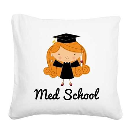 Cute Med School Graduate Square Canvas Pillow