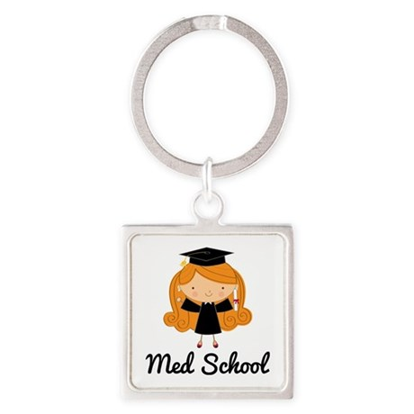 Cute Med School Graduate Square Keychain