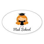 Cute Med School Graduate Sticker (Oval)
