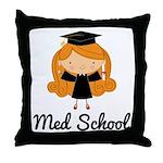 Cute Med School Graduate Throw Pillow
