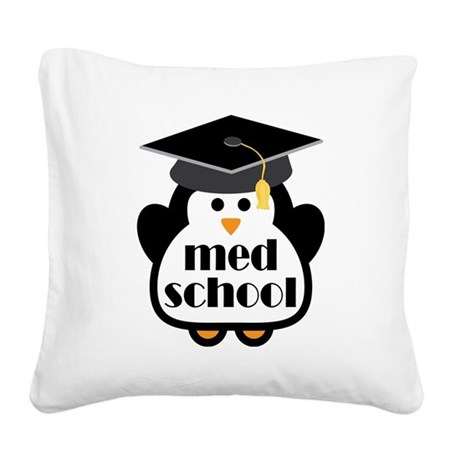 Med School penguin Square Canvas Pillow