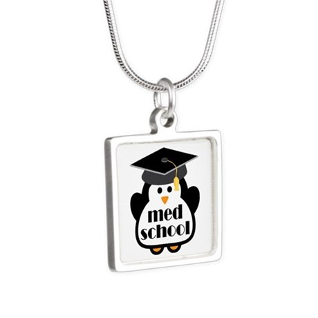 Med School penguin Silver Square Necklace