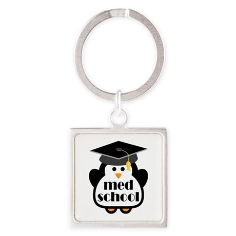 Med School penguin Square Keychain