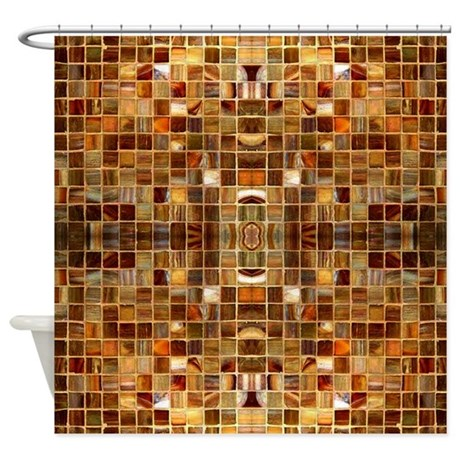 Gold mosaic tiles shower curtain by zazzlingdesigns for Gold mosaic bathroom accessories