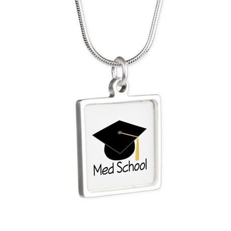 Gift For Med School Graduate Silver Square Necklac