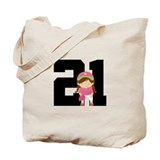 Softball Player Uniform Number 21 Tote Bag