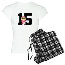 Softball Player Uniform Number 15 Pajamas