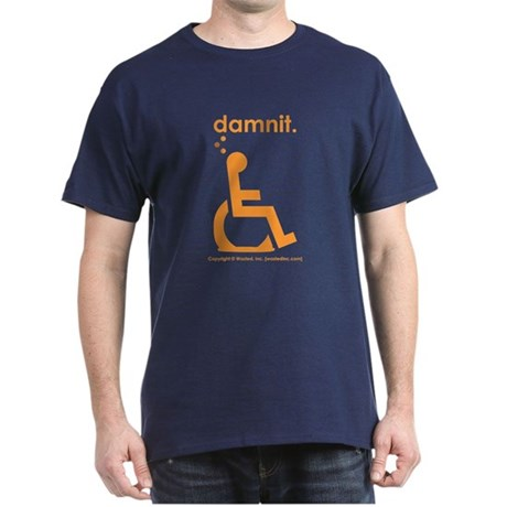 damnit.wheelchair Navy/Orange Dark T-Shirt