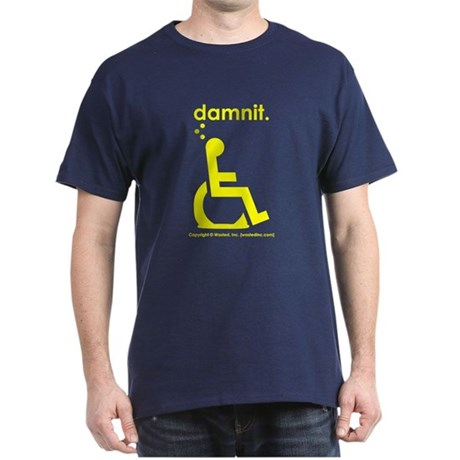 damnit.wheelchair Navy/Yellow T-Shirt