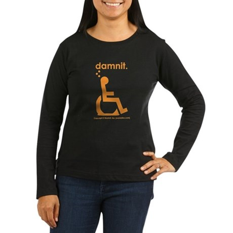 damnit.wheelchair Womens LongSleeve Black/Orange T